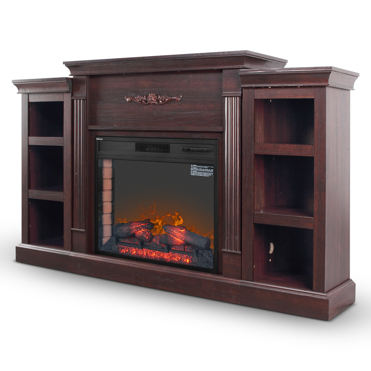 28-Inch Infrared Quartz Space Heater Electric Wood Fireplace