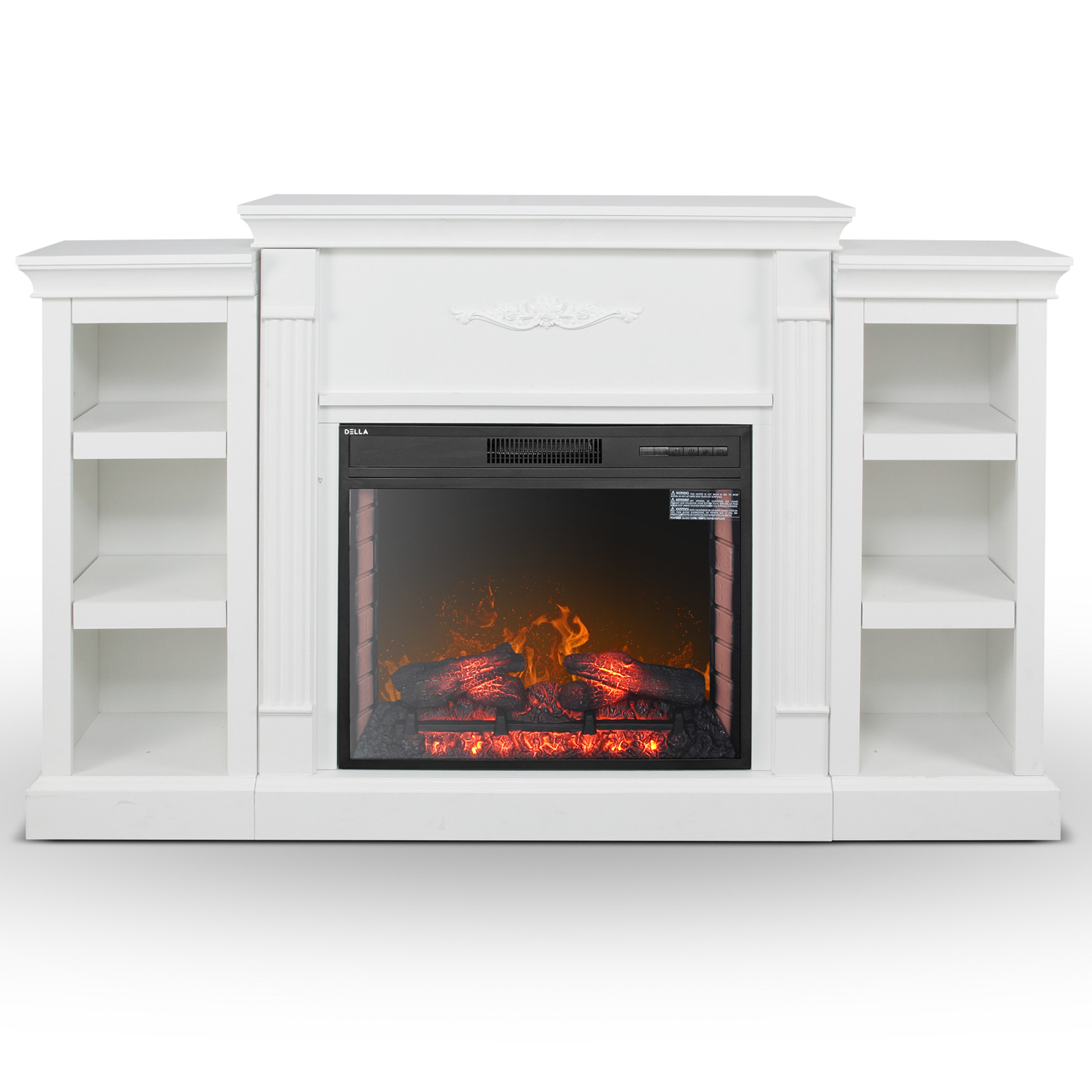 White Electric Infrared Fireplace Media Console Tv Stand Insert