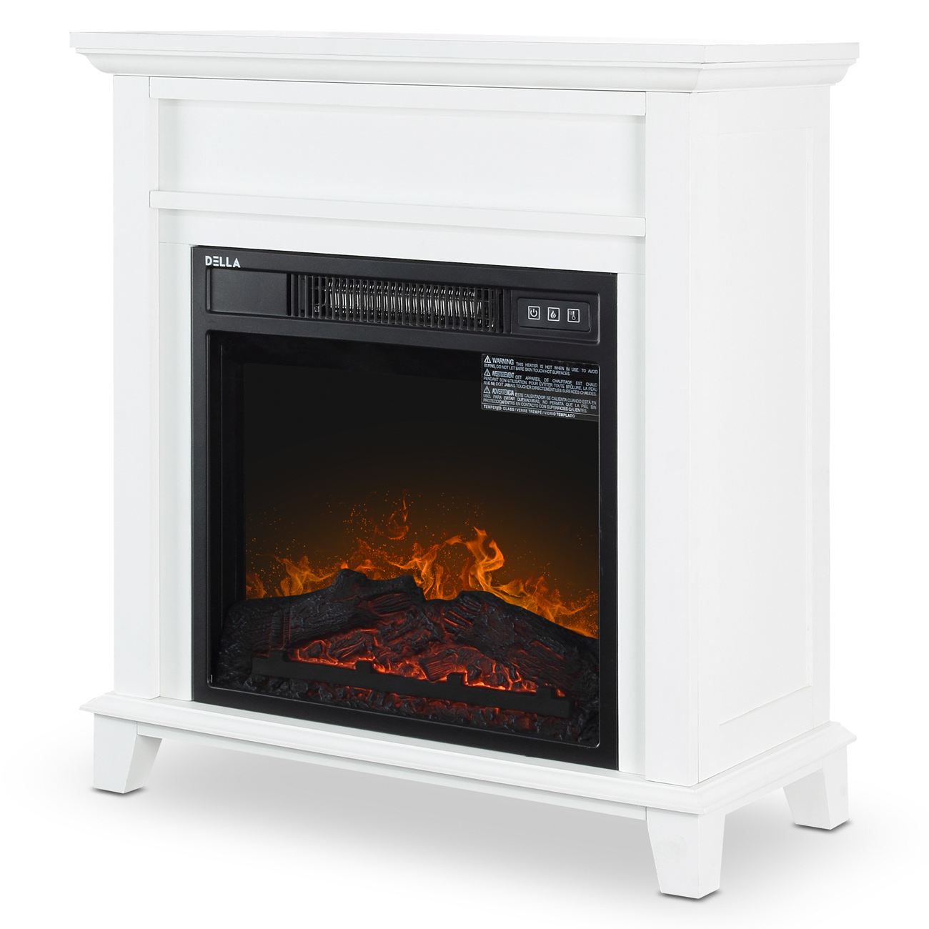 """DELLA 18"""" Freestanding White Wood Finish Electric Fireplace Stove Heater"""