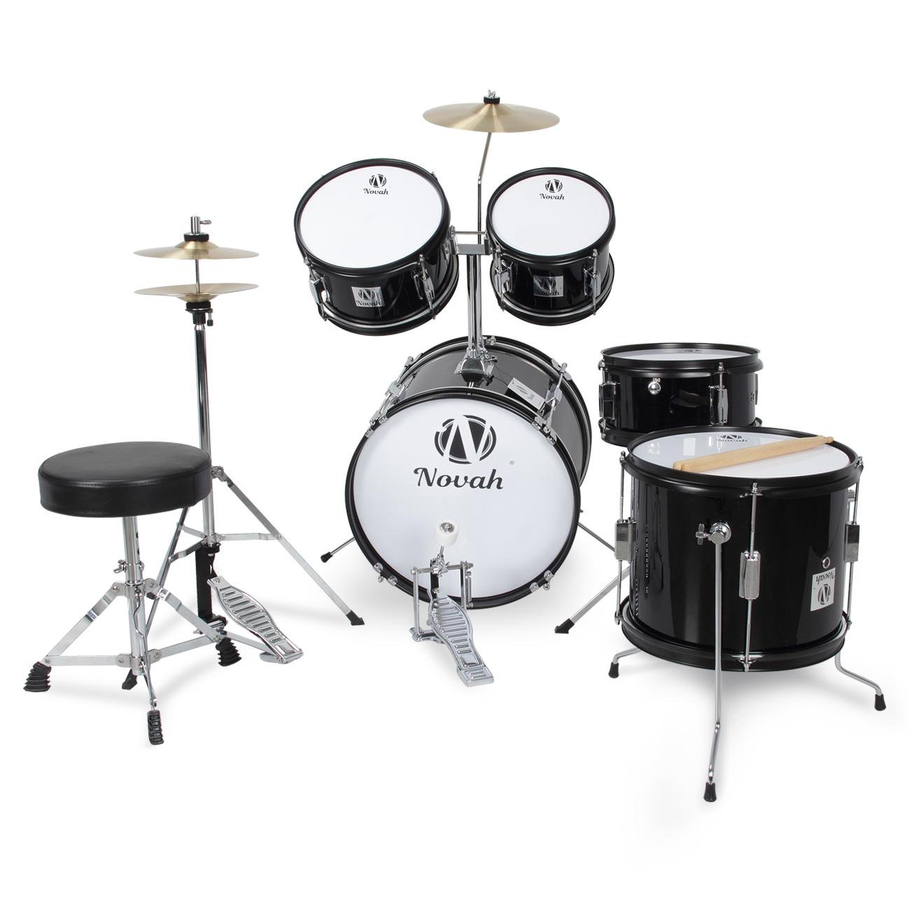 new drum set 5 pc complete junior adult set cymbals full size black and blue ebay. Black Bedroom Furniture Sets. Home Design Ideas