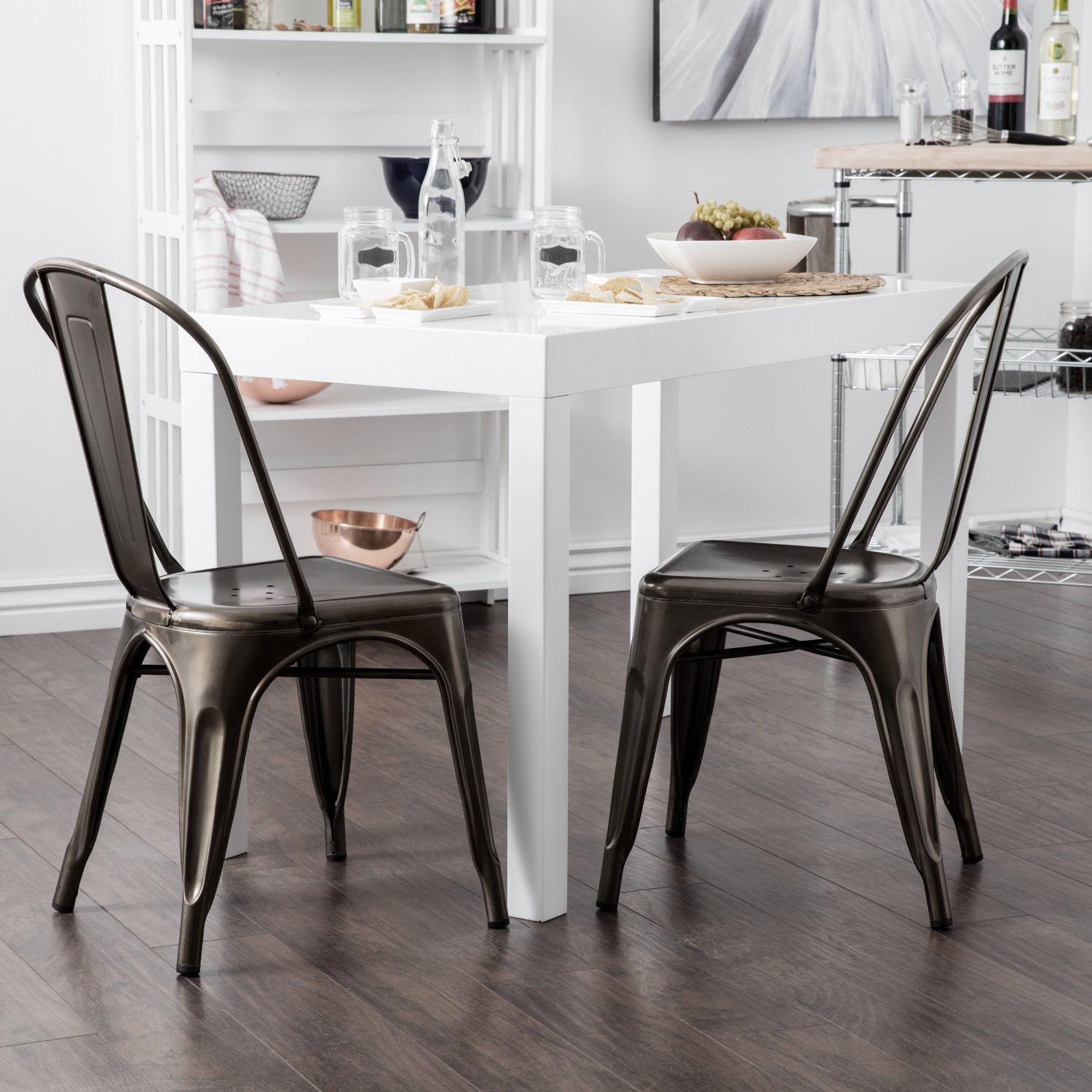 Set Of 4 Vintage Style Stackable Dining Chairs
