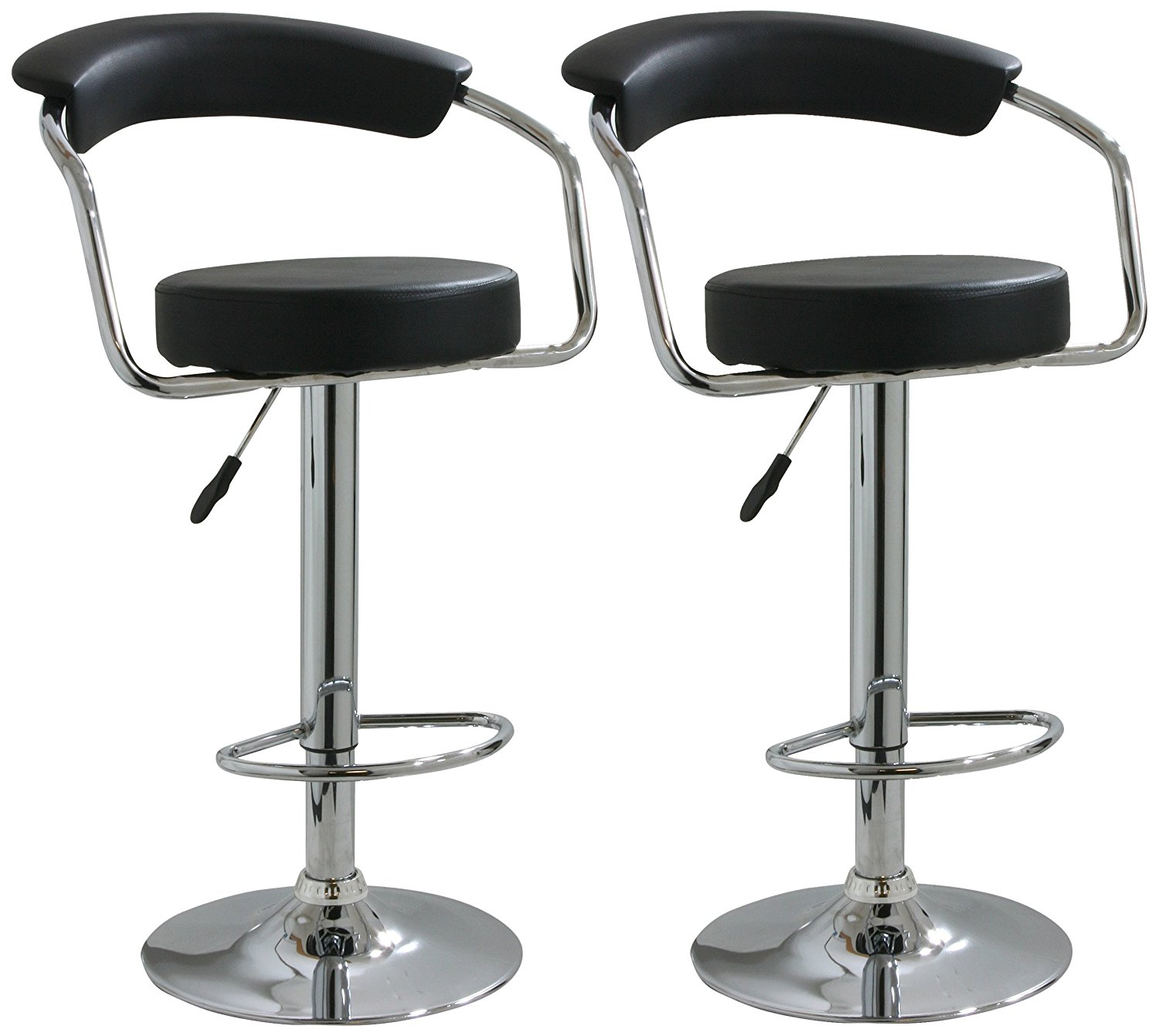 Modern Set Of 2 Bar Stools Leather Adjustable Swivel Pub Chair In