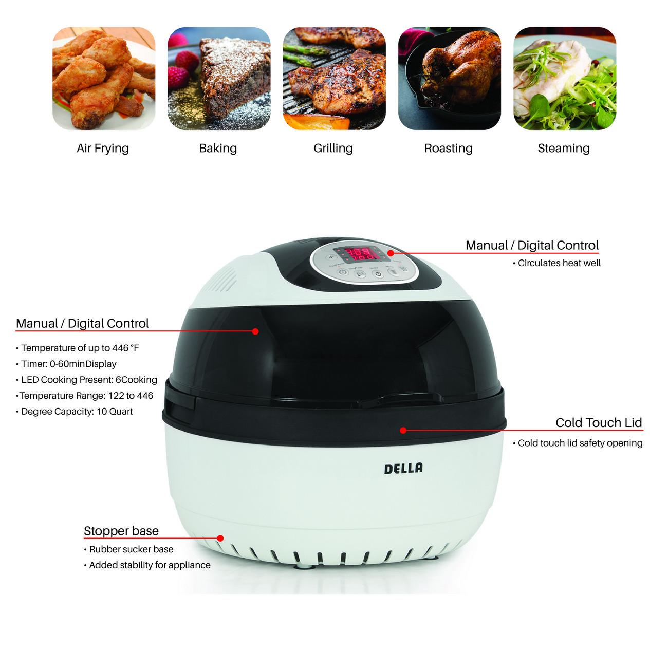 10 Quart Electric Calorie Reducer Technology Nonstick Air Fryer Griller Roaster