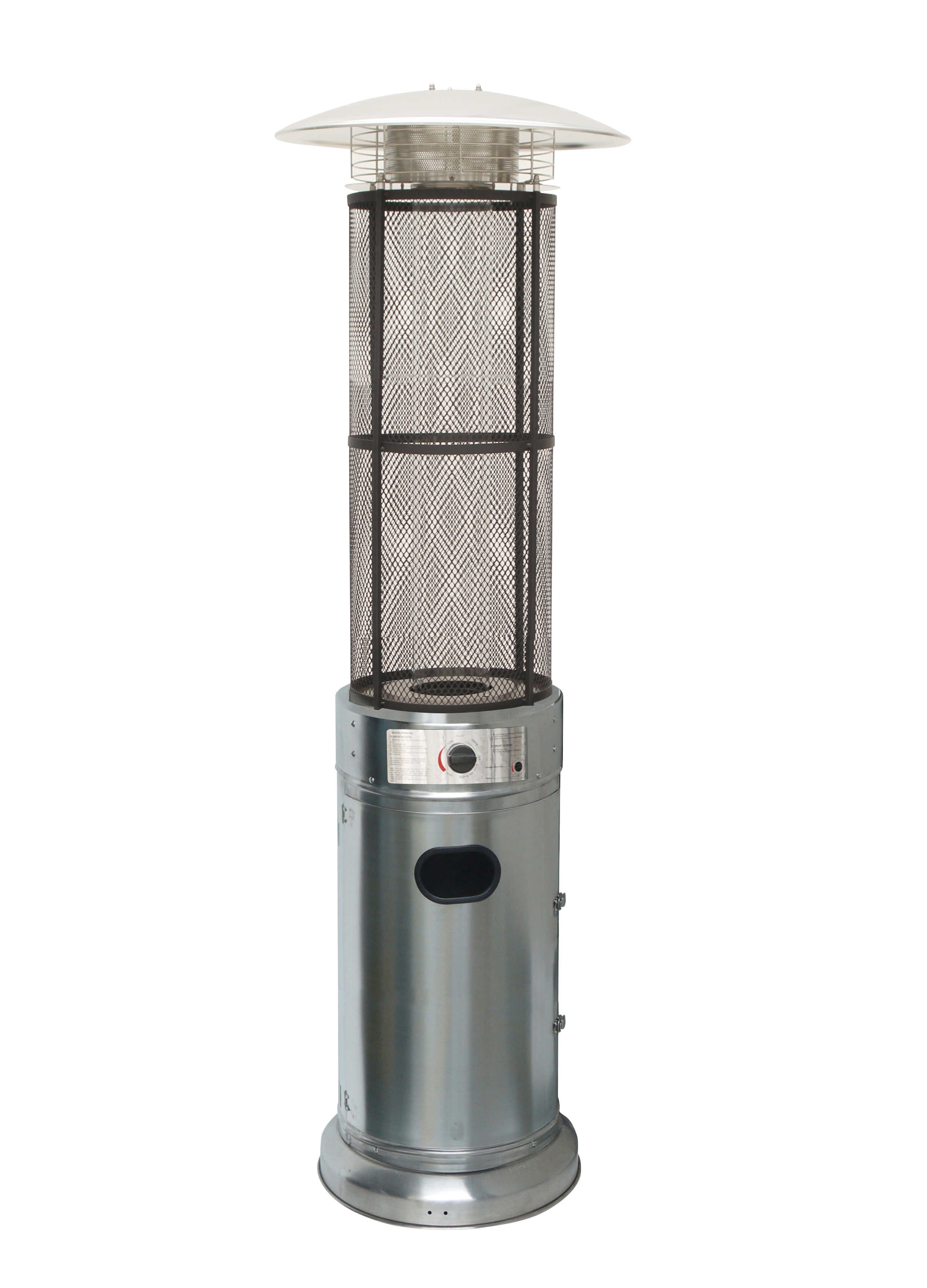 Stainless Steel Circle Glass Tube W/ Flames Heater Outdoor Patio Heater,  Silver