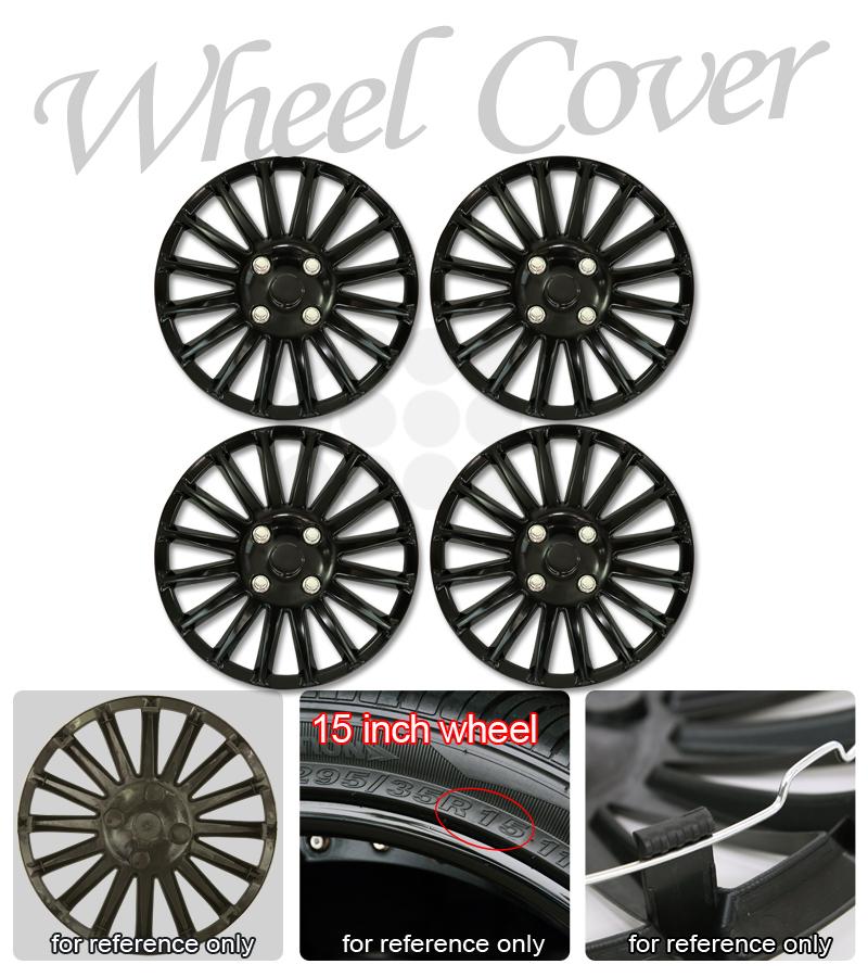 4pcs set hub cap matte black 15 inch rim lug skin wheel cover hubcaps honda ebay. Black Bedroom Furniture Sets. Home Design Ideas