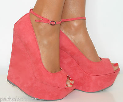 Ladies Coral Pink Peep Toe High Wedge Heels Shoe Sandal
