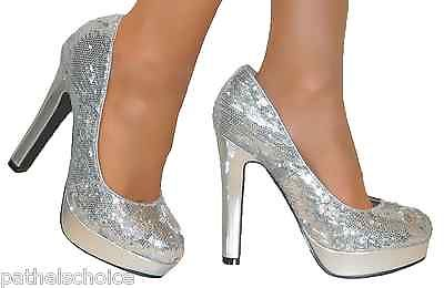 Ladies Wide Dress Court Shoes Silver With Pearl