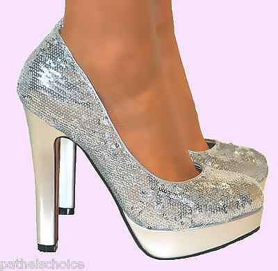 Ladies Silver Sequin Glitter Block High Heels Platform ...