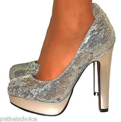 Ladies Silver Sequin Glitter Block High Heels Platform