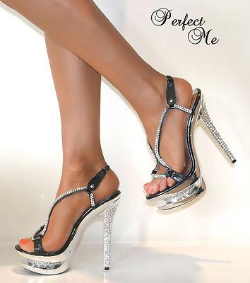 Ladies Crystal Glitter Double Platform Strappy Stiletto
