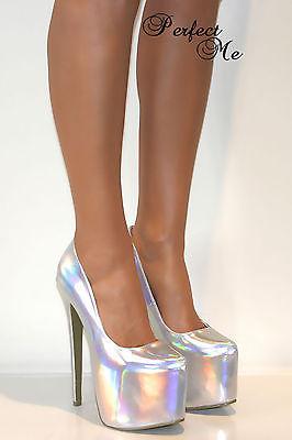 Ladies Silver Concealed Platform Court Shoe Extreme