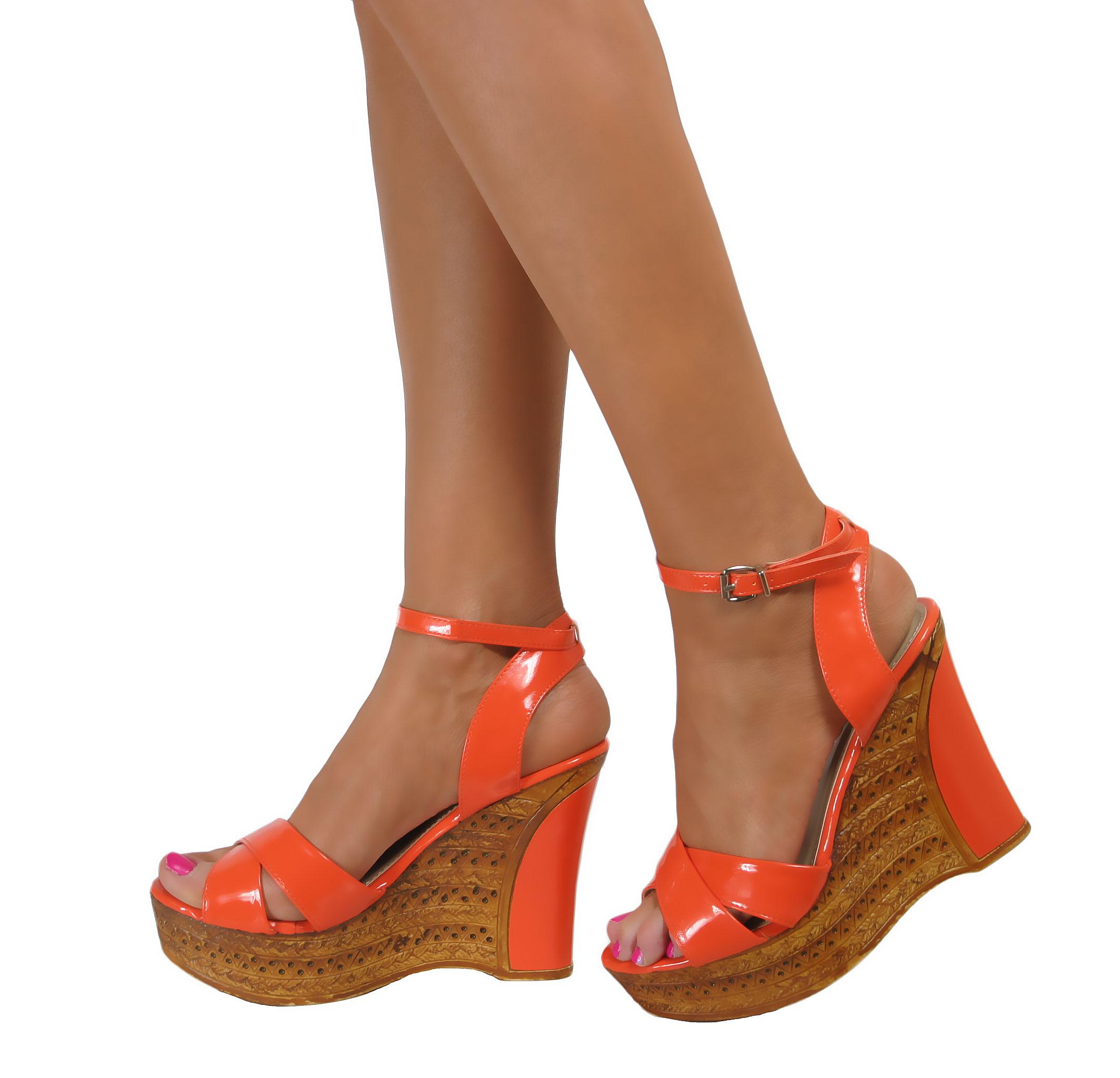 9557d9d7a Ladies Platform Wedge High Heels Strappy Peep Toe Sandals Summer .