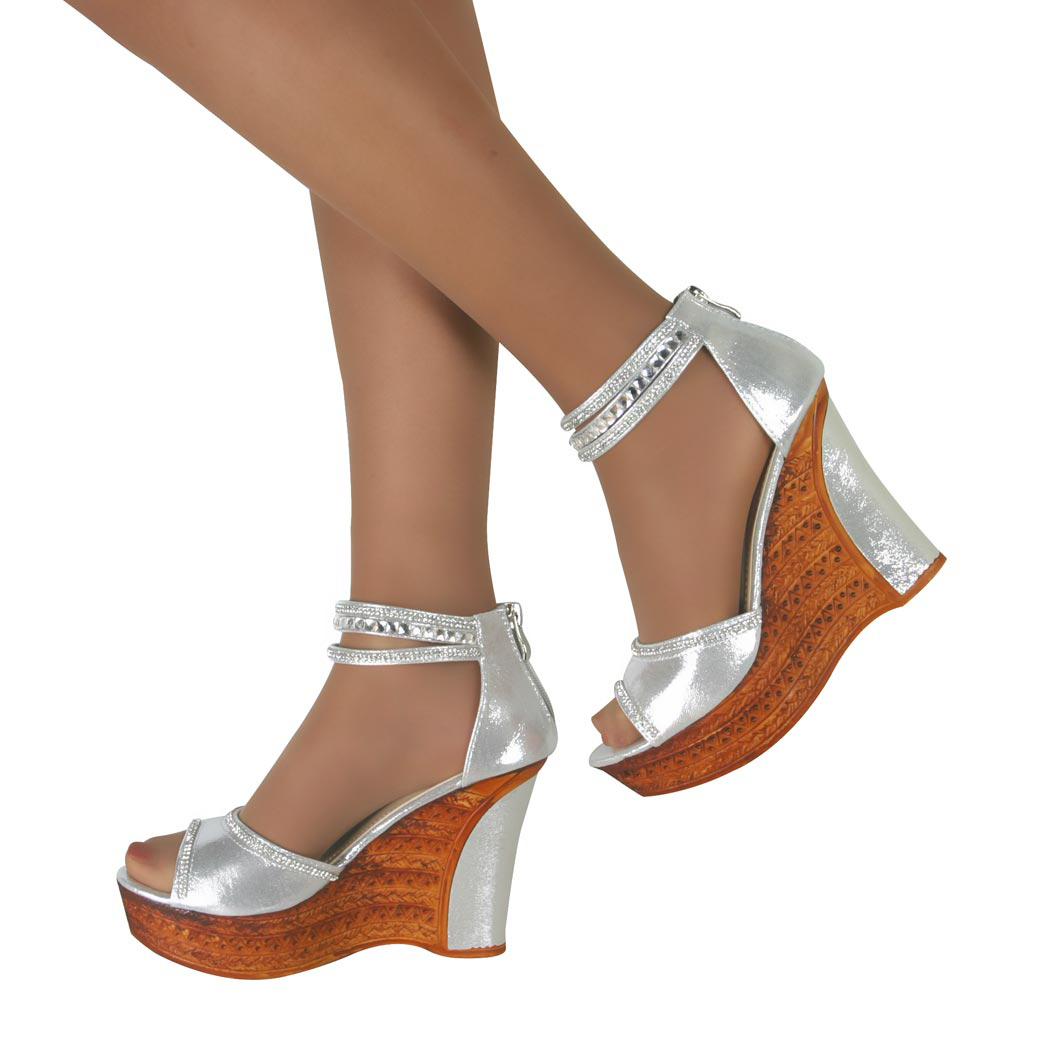 Silver Peep Toe Prom Shoes