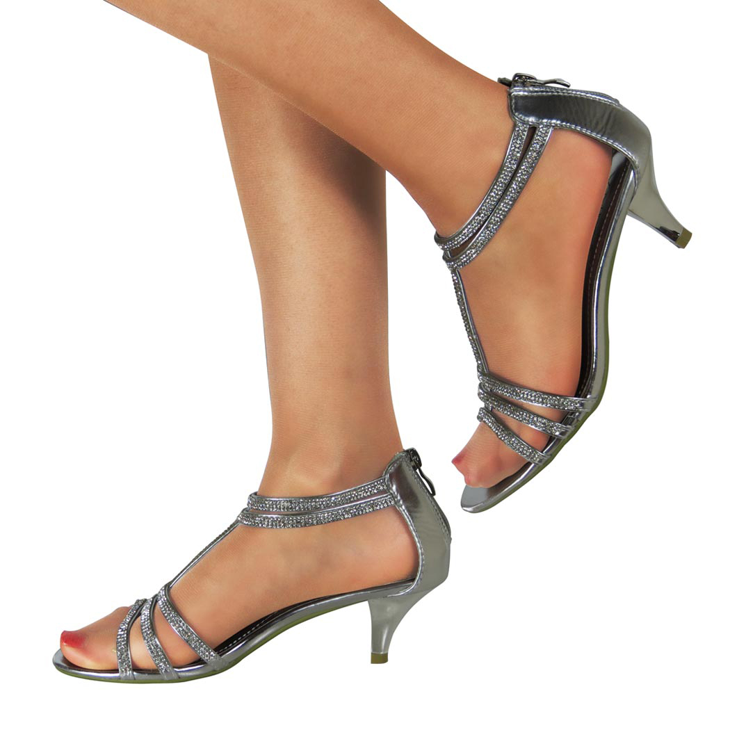 WOMENS LADIES LOW KITTEN HEEL STRAPPY SANDALS PARTY PROM