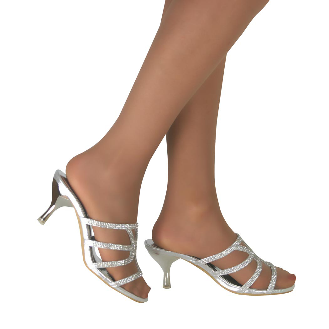 Bridal Shoes Wide Feet: Ladies Diamante Kitten Mid High Heel Slip On Bridal