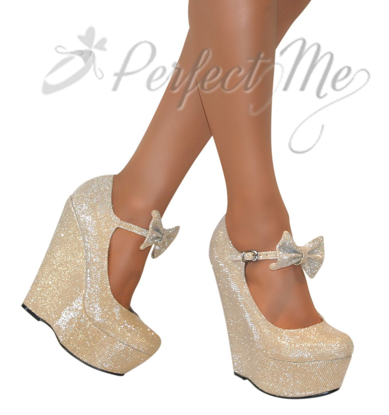 Womens Gold Mary Jane Shoes
