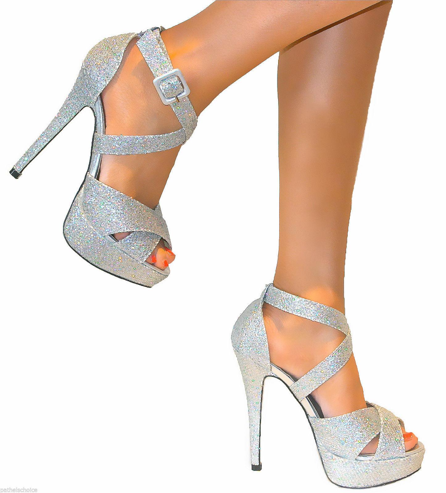 Ladies Silver Strappy Stiletto Heels Platform Shoe Sandal