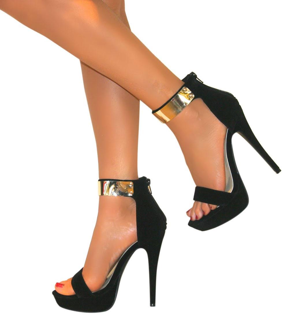 Womens Strappy Peep Toe Platform Stiletto High Heel Shoe