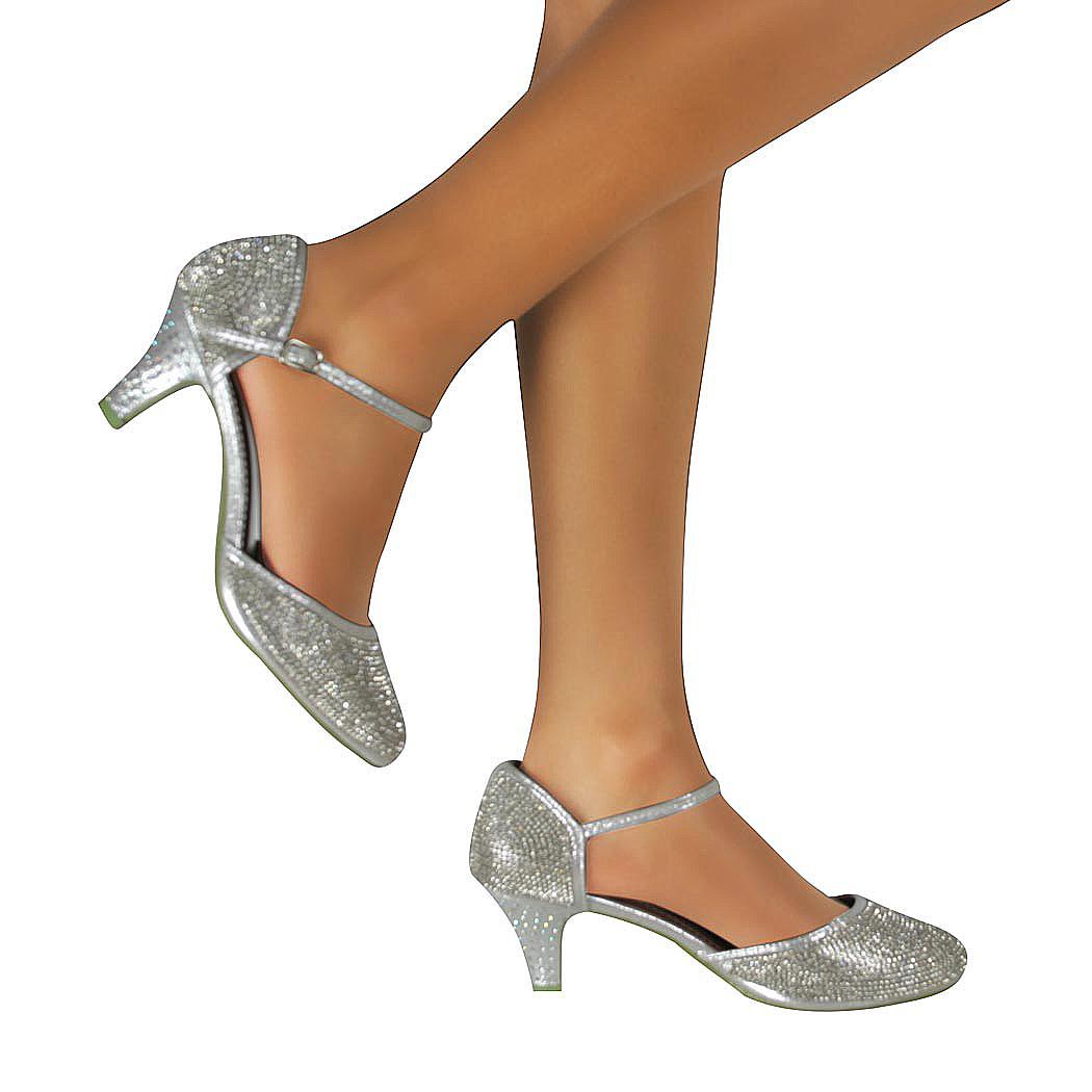 Ladies Silver Court Shoes