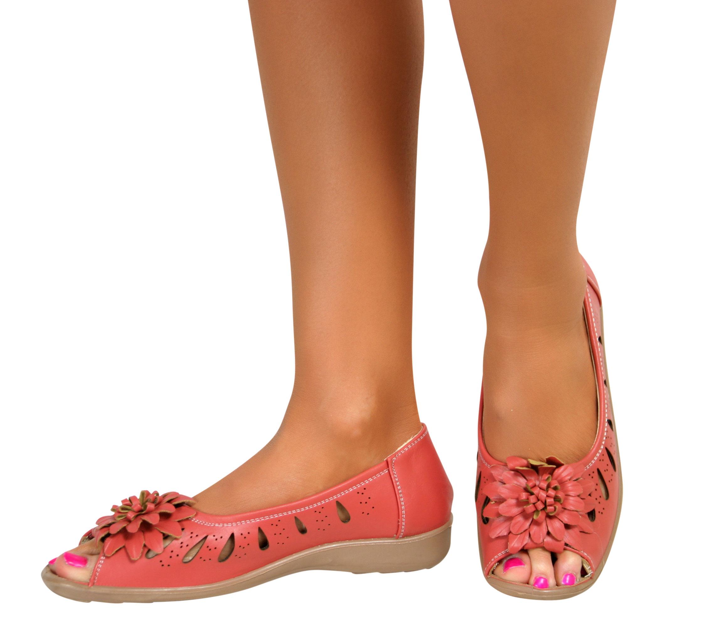 3fbda9a41ce Ladies Wide Fit Flat Low Wedge Heel Peep Toe Comfort Slip On Sandals ...