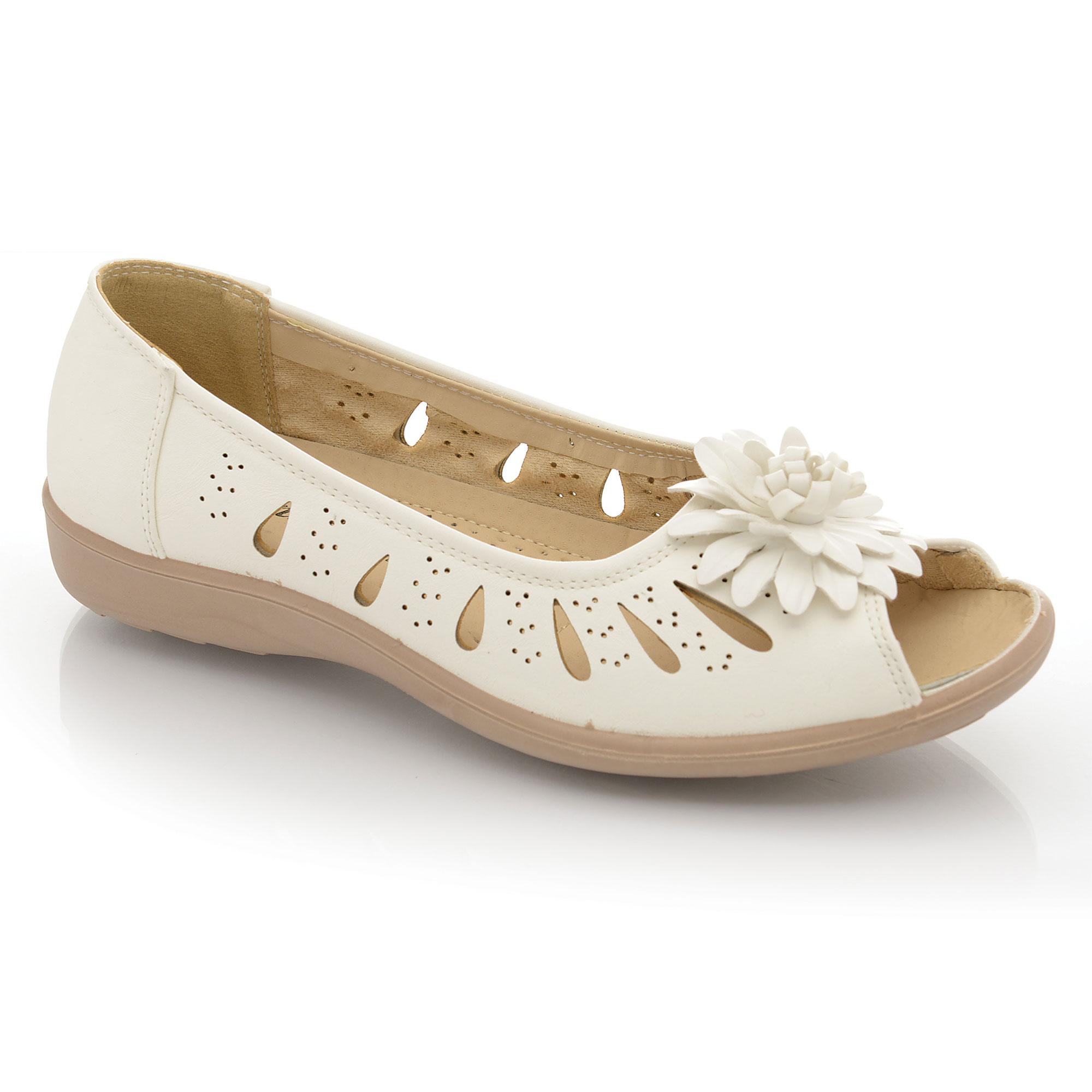 f667372137ca Ladies Wide Fit Flat Low Wedge Heel Peep Toe Comfort Slip On Sandals ...