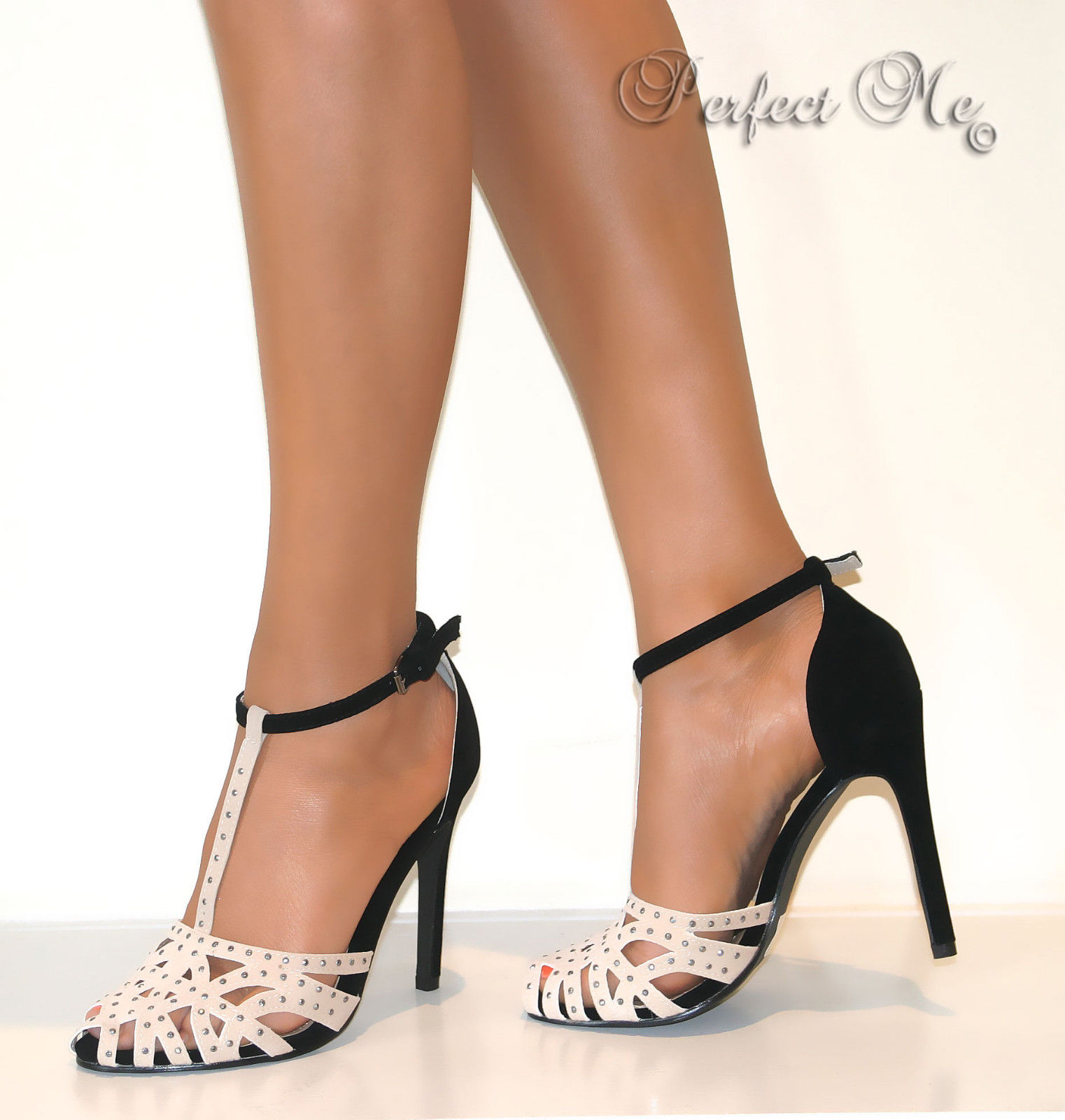 Ladies Black Nude Glitter Stud Strappy T Bar Court Shoe