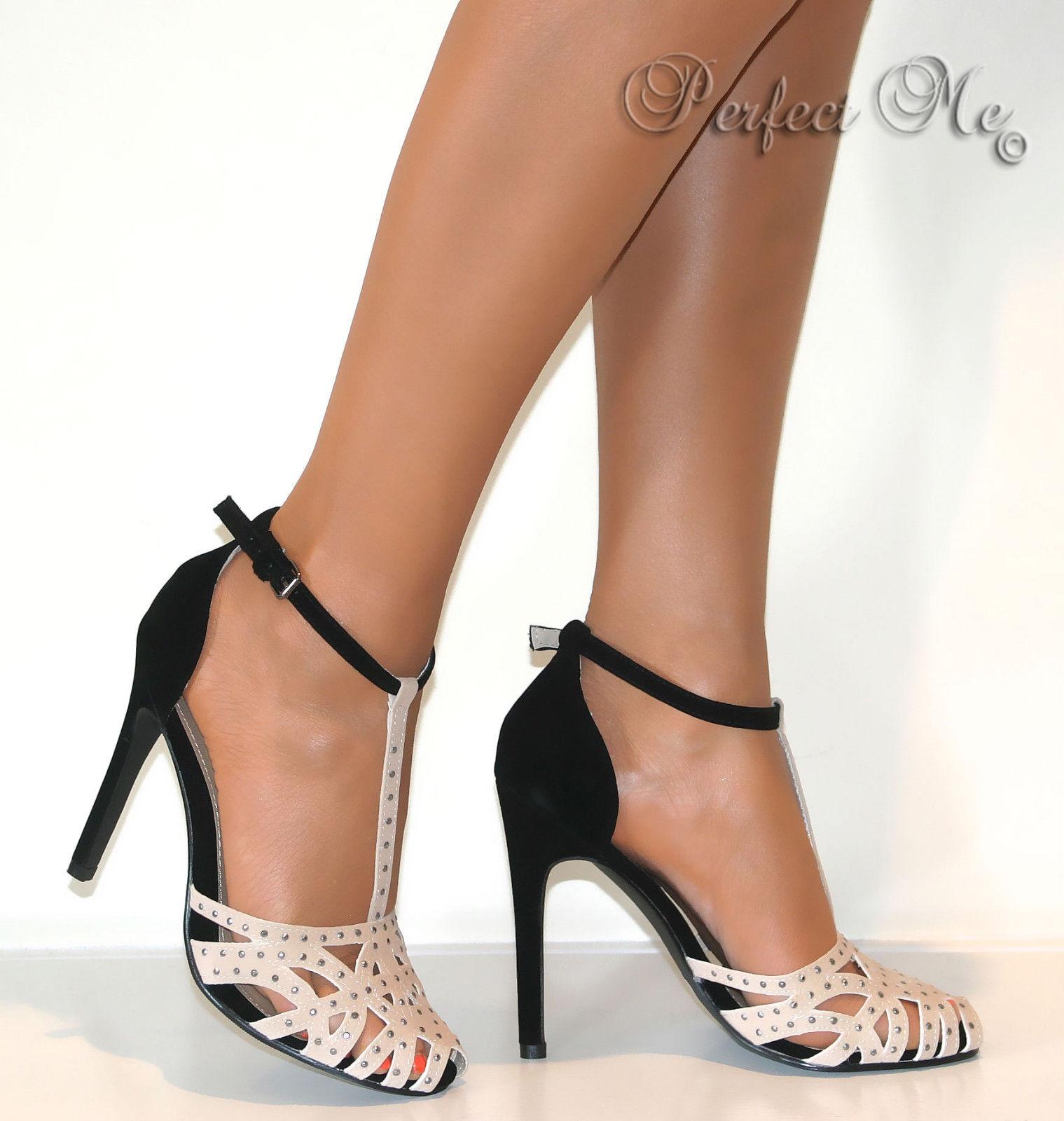 Ladies Black Nude Glitter Stud Strappy T Bar Court Shoe