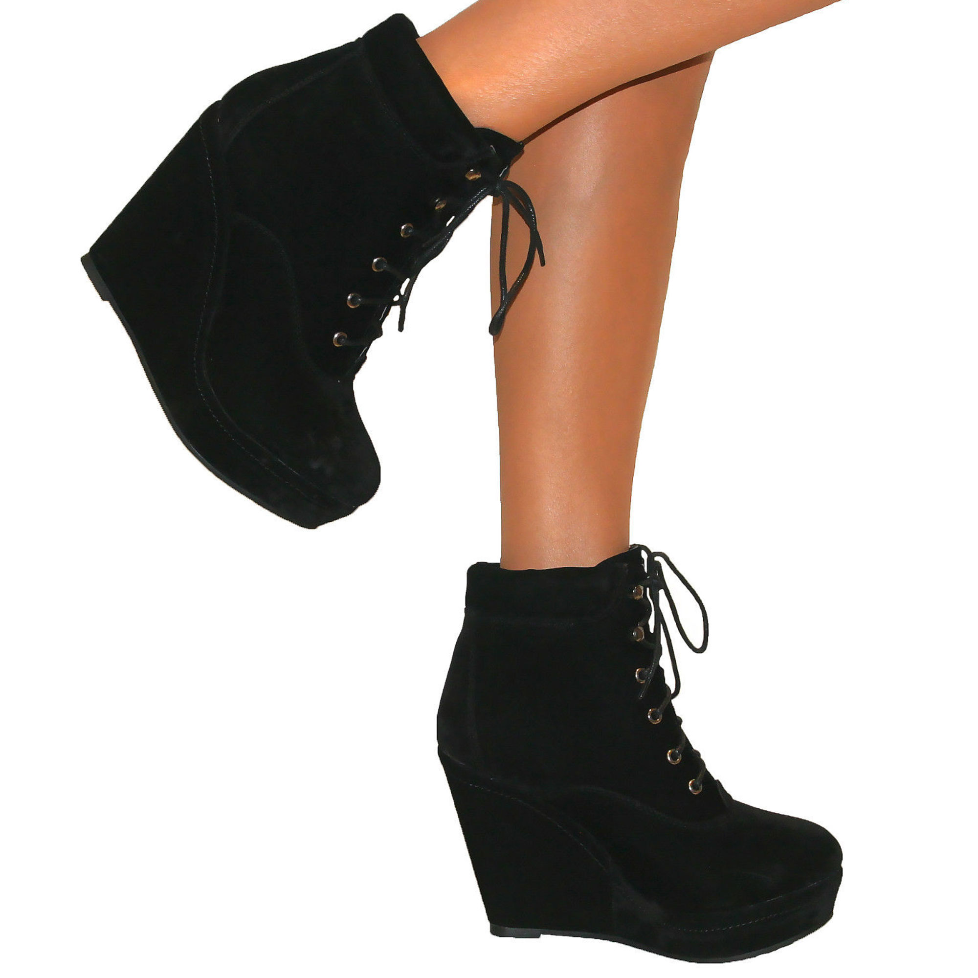 Black Wedge Ankle Shoe Boots