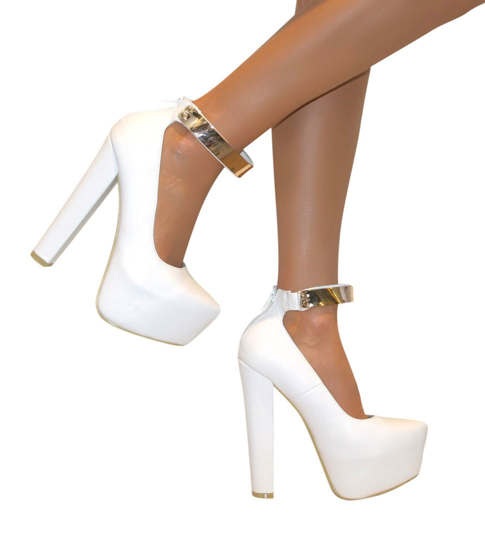 d20adc7b428 WOMENS ANKLE STRAP CUFF PLATFORM BLOCK CHUNKY HIGH HEELS COURT .