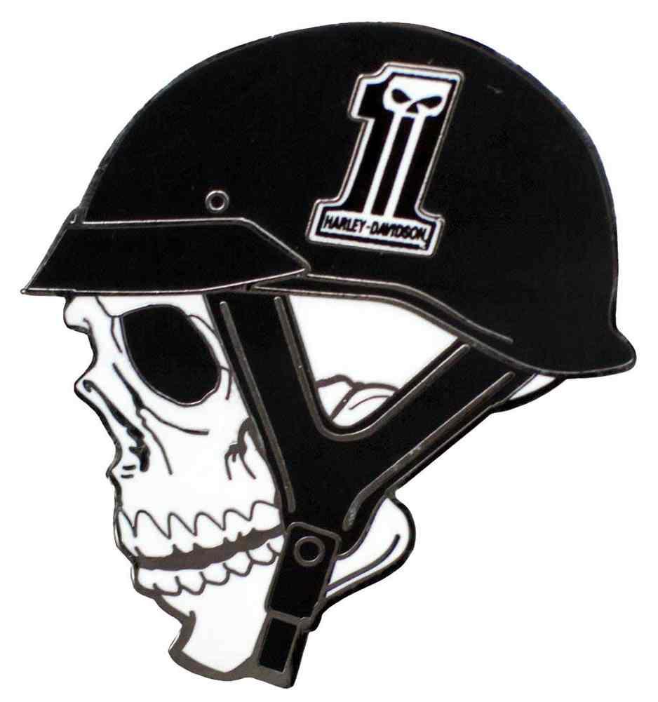harley davidson skull helmet 1 skull logo pin black. Black Bedroom Furniture Sets. Home Design Ideas