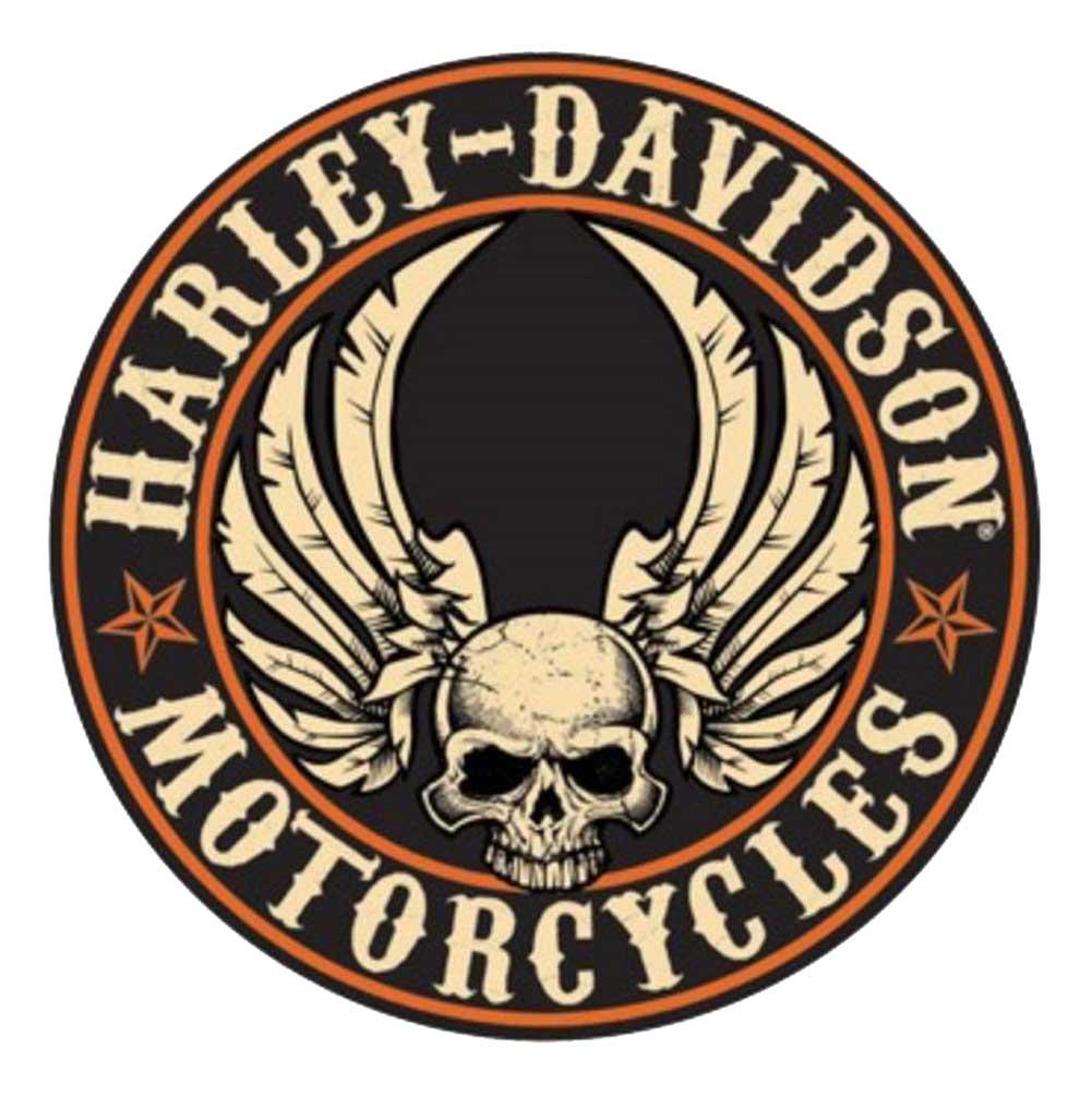 harley-davidson embossed flying skull button round tin sign, 14