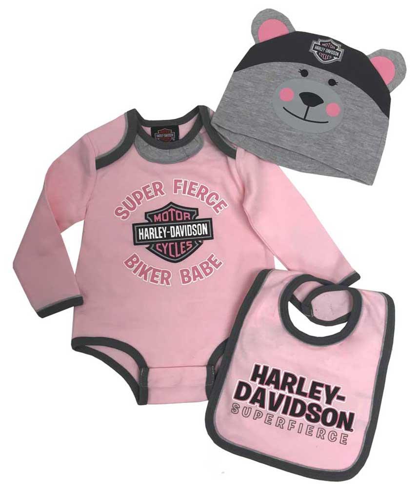 Harley-Davidson Baby Girls/' 3-piece Glitter Creeper Set w// Hat /& Bib 2503921