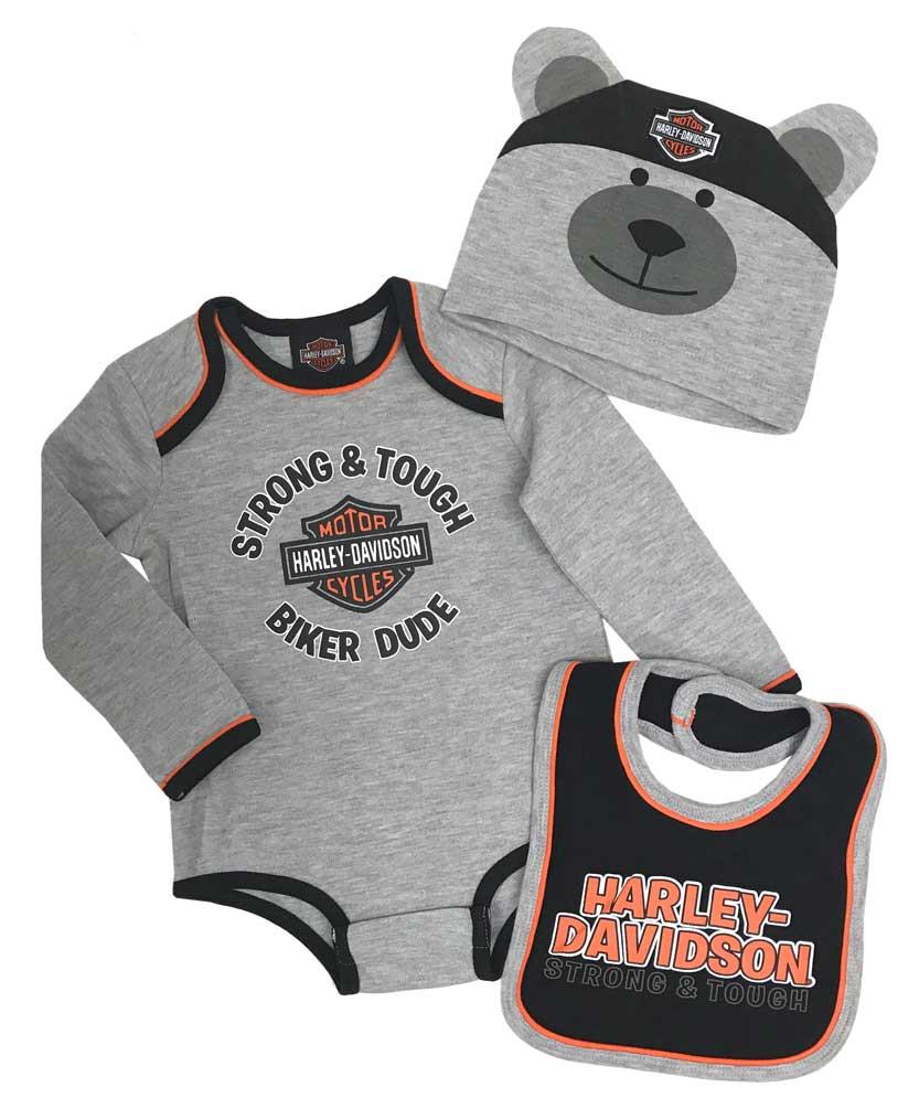 7059507 Harley-Davidson® Baby Boy/'s Bar /& Shield 2 pack bibs set Black//Orange
