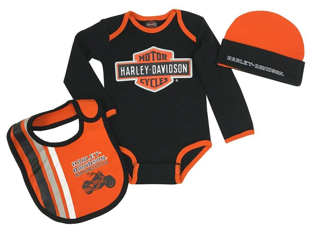 a454b9fb9 Harley-Davidson Baby Boys' Racer 3-Piece Infant Creeper, Hat & Bib Set  2563805