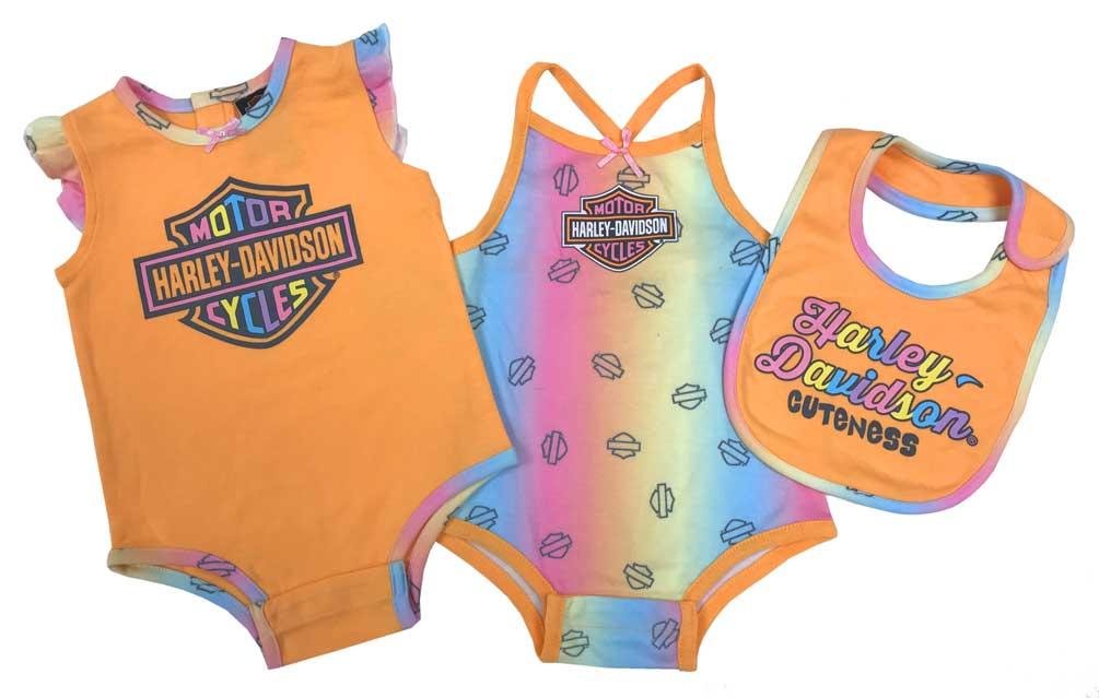 Bib /& Hat Set Harley-Davidson Baby Girls/' 3 Piece Creeper Pink 2501817
