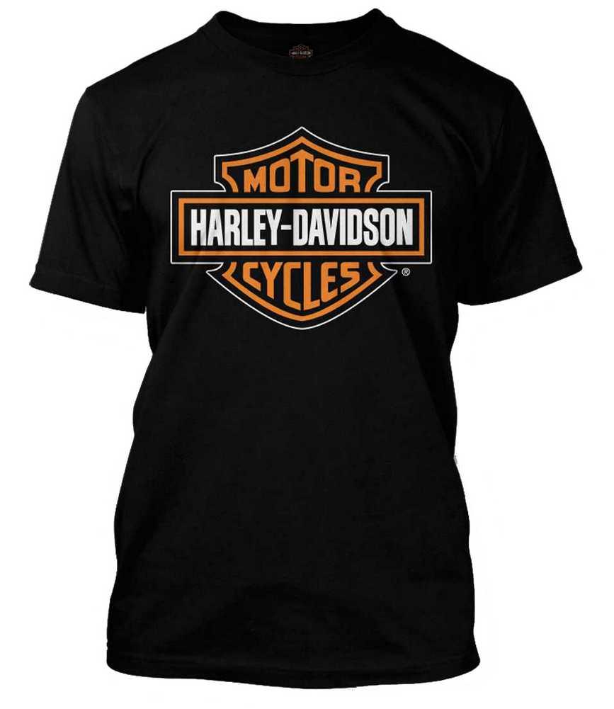 84df6590 Harley-Davidson Men's Orange Bar & Shield Black T-Shirt 30290591 | eBay