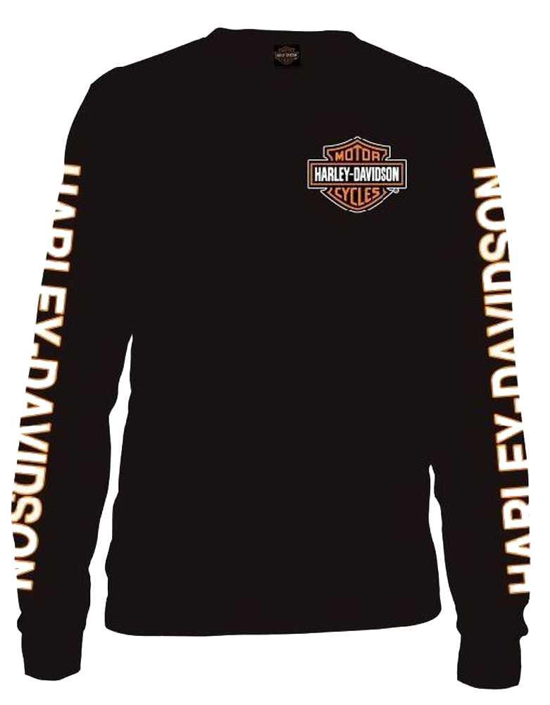 Harley-Davidson Men/'s Crossfire Flaming Bar /& Shield Long Sleeve Shirt Black