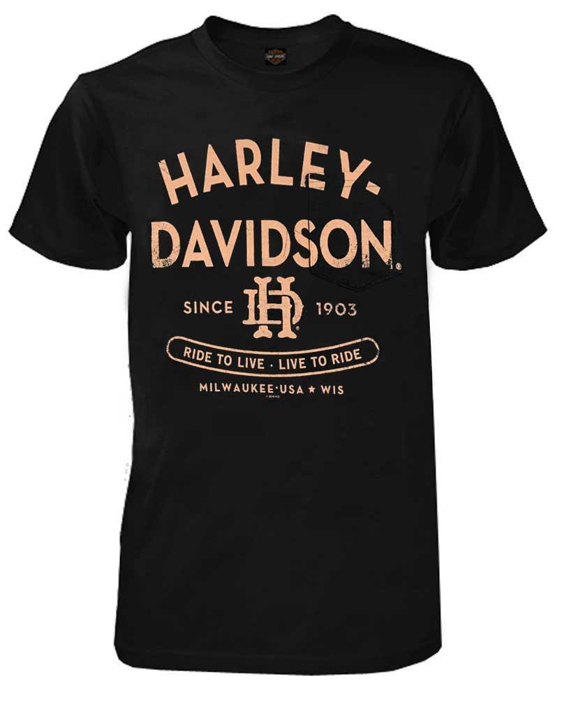 Navy Harley-Davidson Men/'s Distressed Worn Chest Pocket Short Sleeve T-Shirt