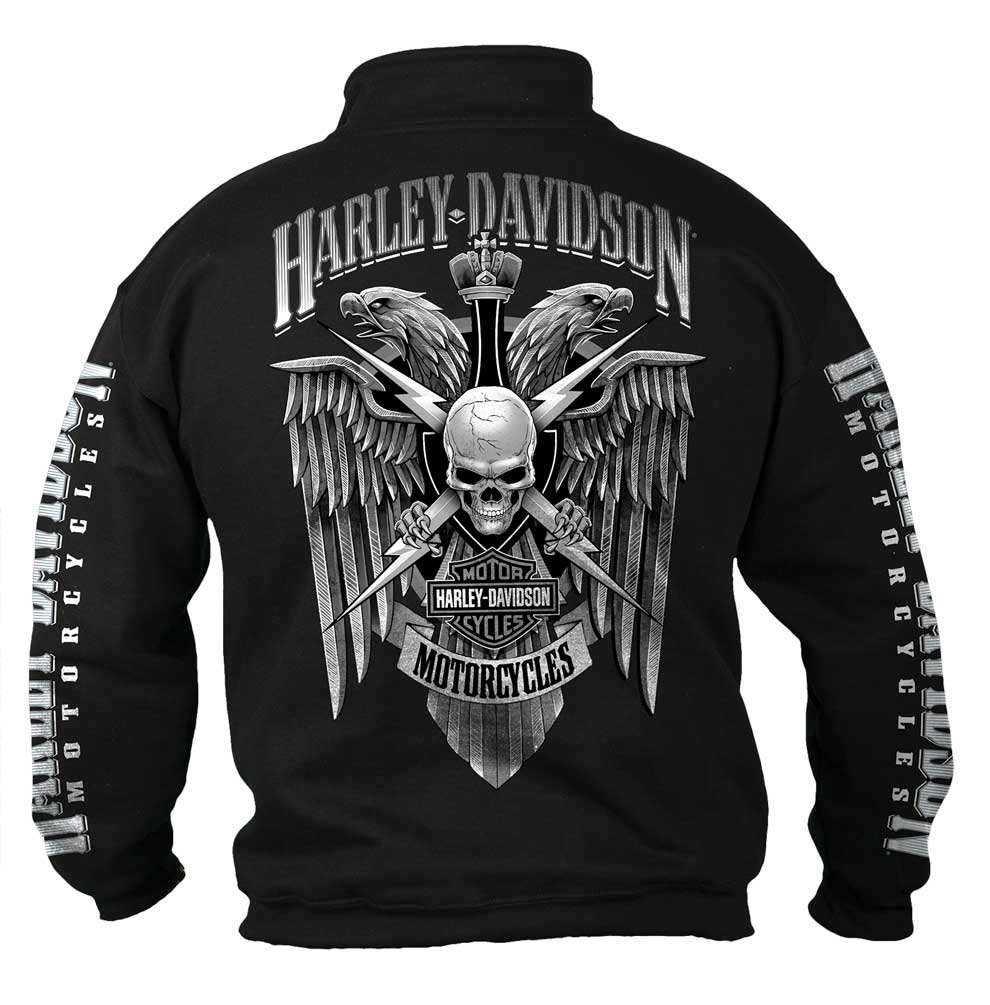 harley-davidson men's lightning crest 1/4 zip cadet pullover