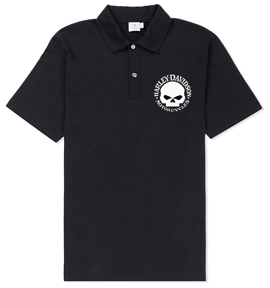 Harley davidson men 39 s willie g skull logo short sleeve for Polo shirts with logos