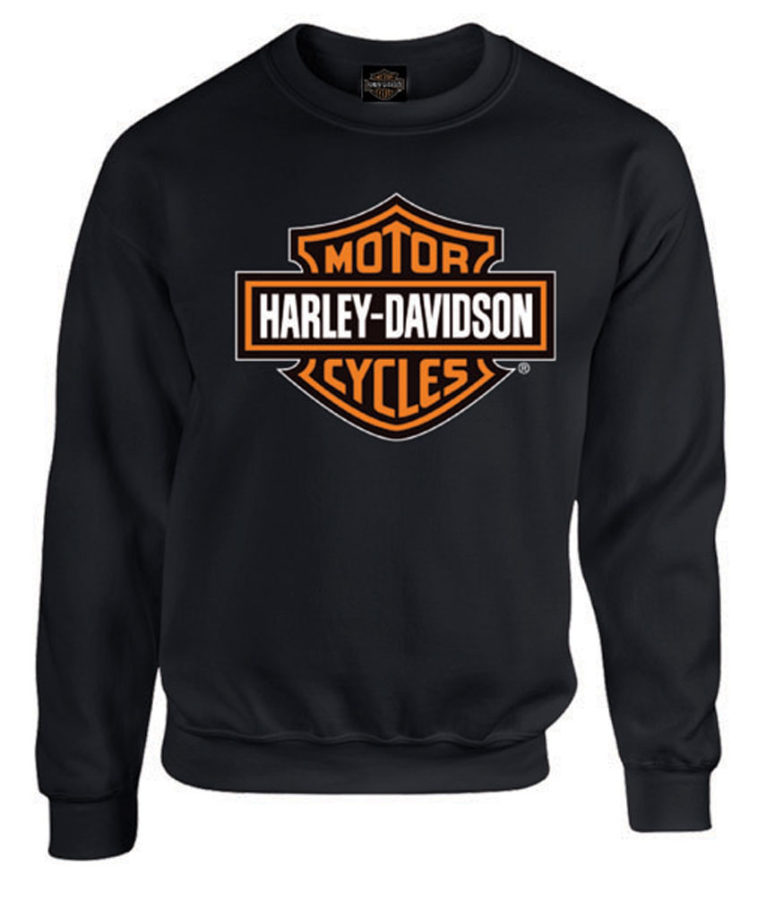 harley davidson mens bar shield long sleeve crew neck. Black Bedroom Furniture Sets. Home Design Ideas