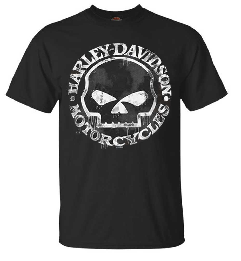 harley davidson men 39 s t shirt hand made willie g skull distressed 30294030 ebay. Black Bedroom Furniture Sets. Home Design Ideas