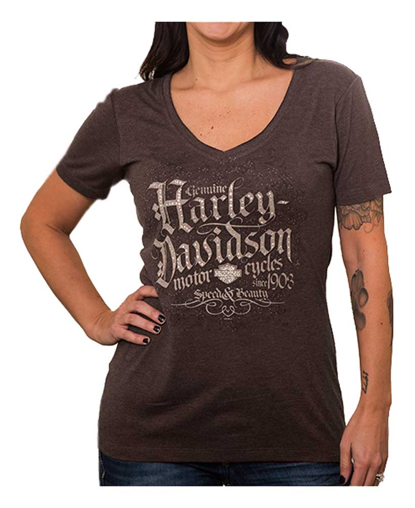 b9ecc8d29044 Harley-Davidson Women's Embellished Legacy Raw-Edge Short Sleeve Tee, Brown
