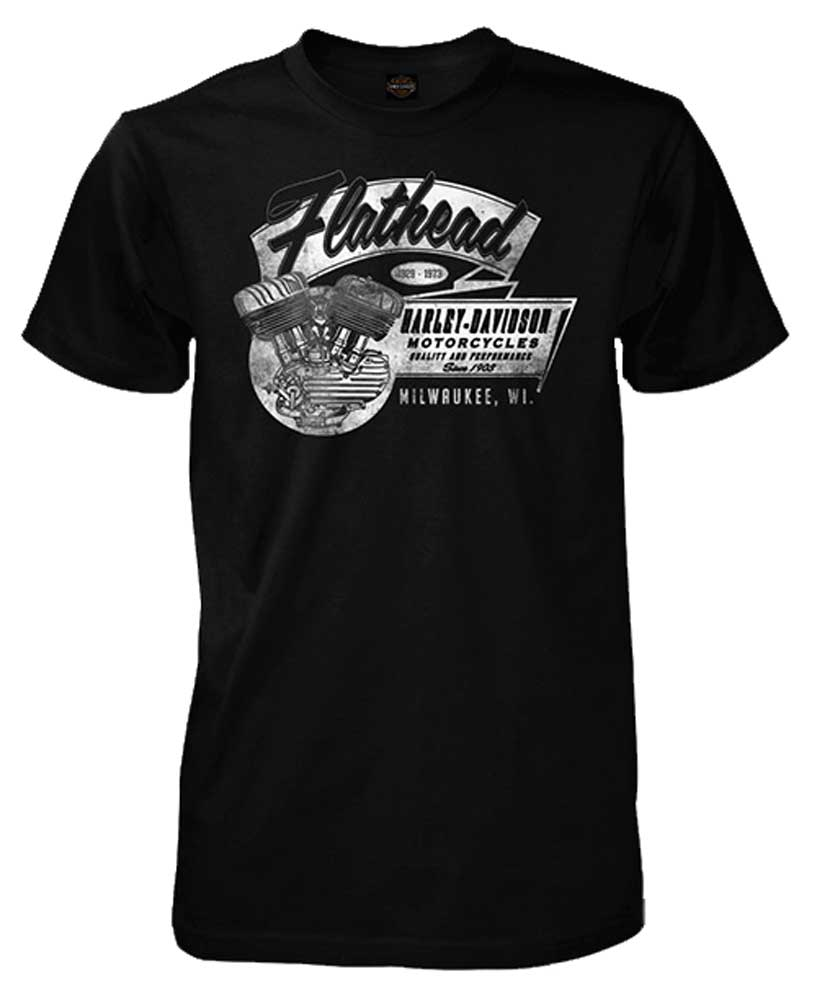 harley davidson men 39 s flathead v twin engine short sleeve. Black Bedroom Furniture Sets. Home Design Ideas
