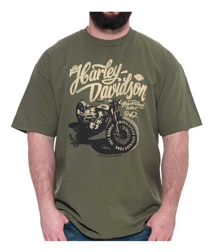 0afbe55e Harley-Davidson Men's Vintage Shadow Bike Short Sleeve T-Shirt, Military  Green