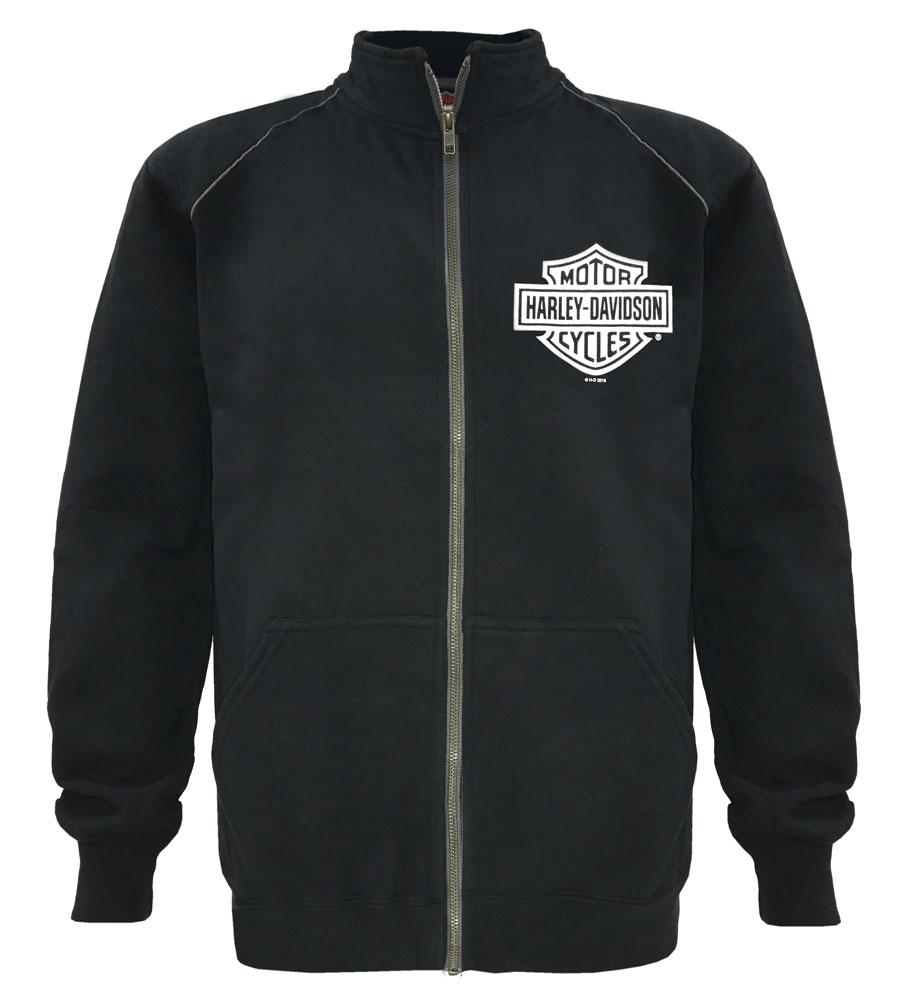 harley davidson men 39 s track jacket bar shield black zip. Black Bedroom Furniture Sets. Home Design Ideas