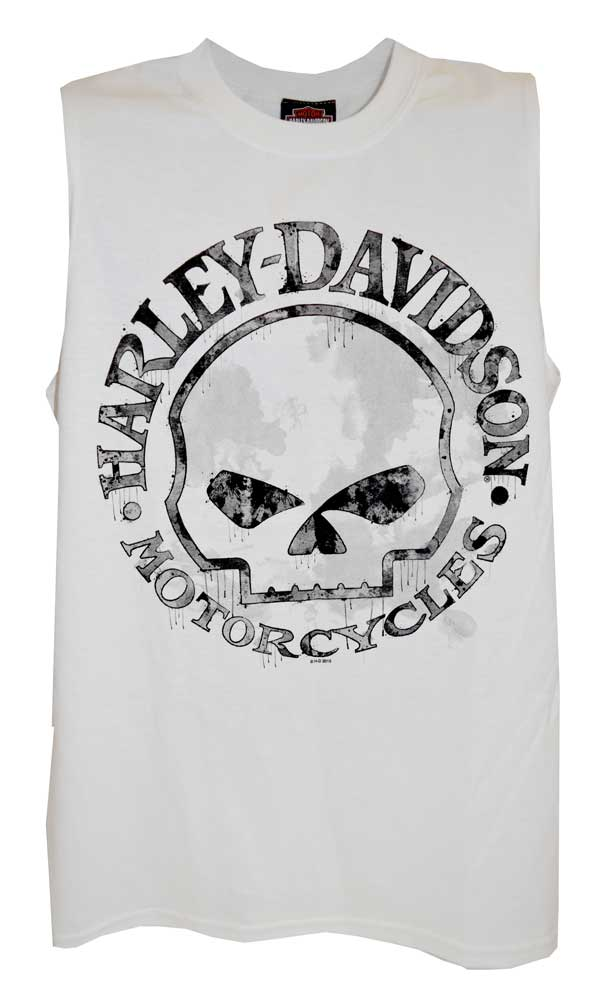 64ba24e5 Harley-Davidson Men's Willie G Skull Tank Top, White Muscle T-Shirt 30296645