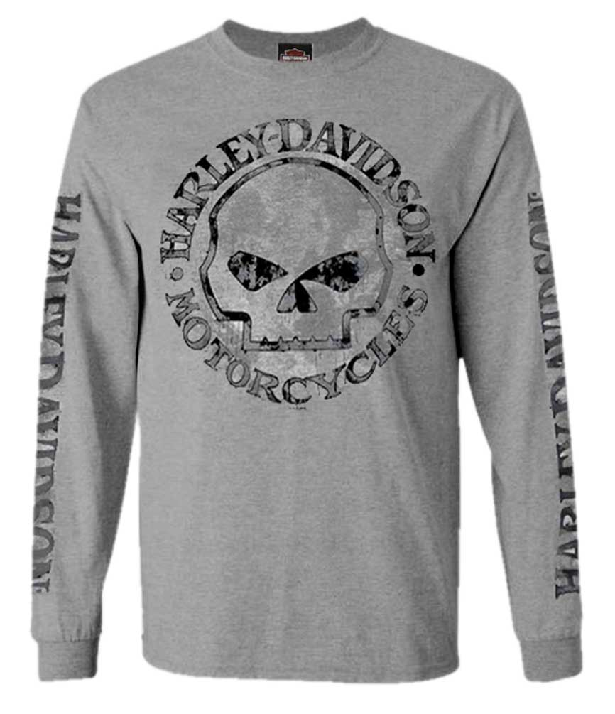 Black HARLMT0291 Harley-Davidson Mens Screamin Eagle Banner Long Sleeve Shirt