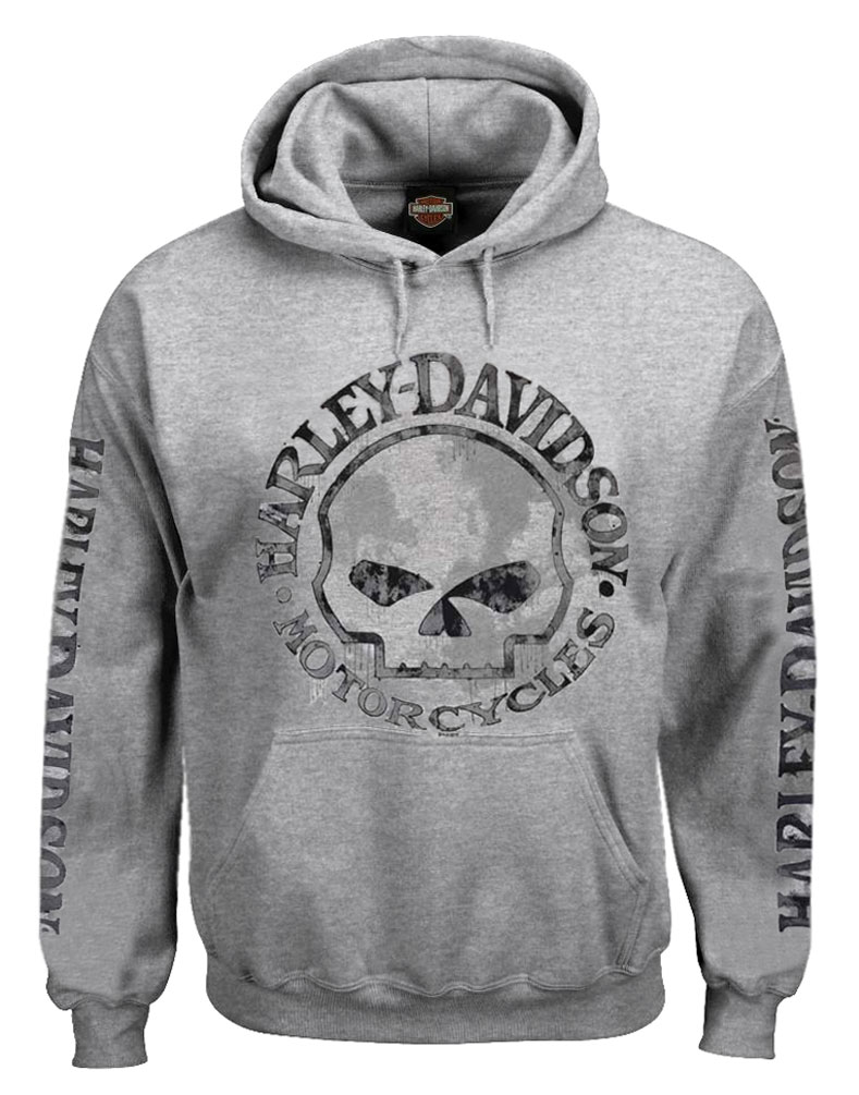 Details about Harley Davidson Men's Hooded Sweatshirt, Willie G Skull, Gray Hoodie 30296654