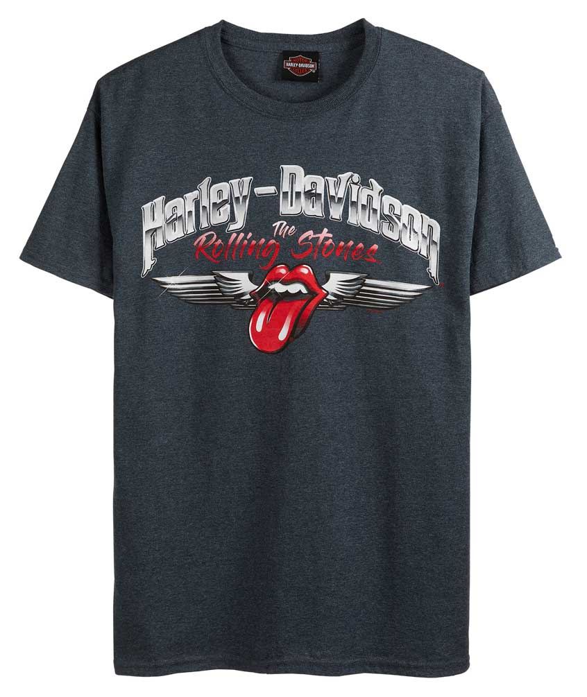 Rock A Gray Hat And Leather Jacket For Fall: Harley-Davidson Men's Rolling Stones Chrome Wings Short
